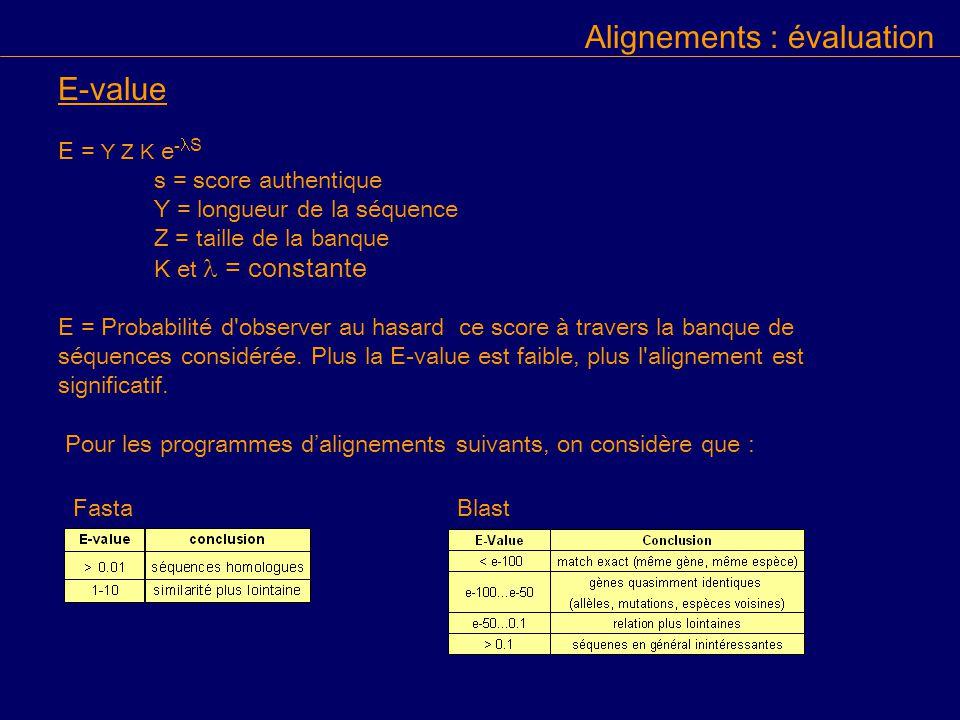 E-value E = Y Z K e - S s = score authentique Y = longueur de la séquence Z = taille de la banque K et = constante E = Probabilité d observer au hasard ce score à travers la banque de séquences considérée.