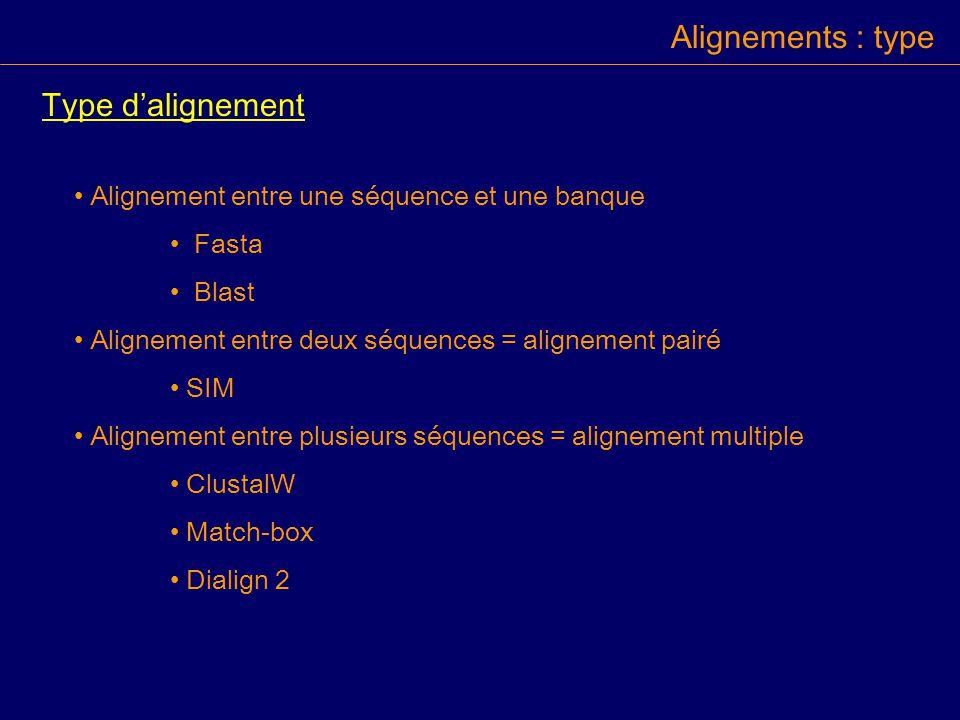 Alignements : type Type dalignement Alignement entre une séquence et une banque Fasta Blast Alignement entre deux séquences = alignement pairé SIM Alignement entre plusieurs séquences = alignement multiple ClustalW Match-box Dialign 2
