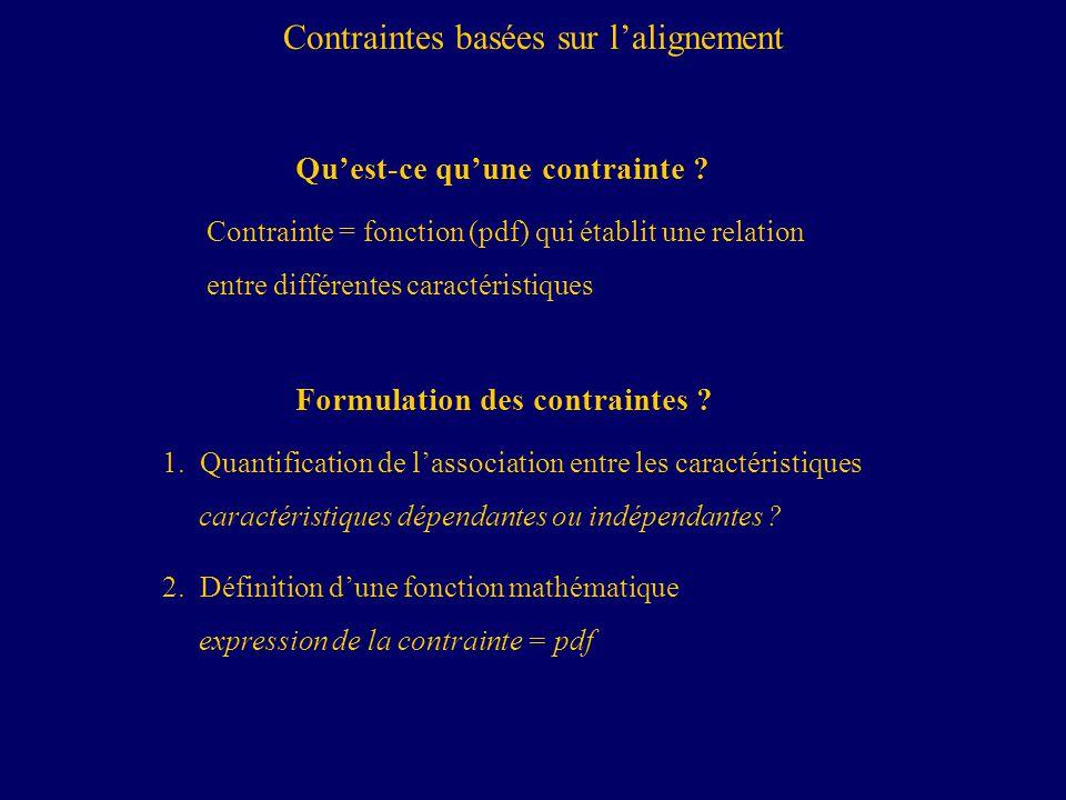 Formulation des contraintes .