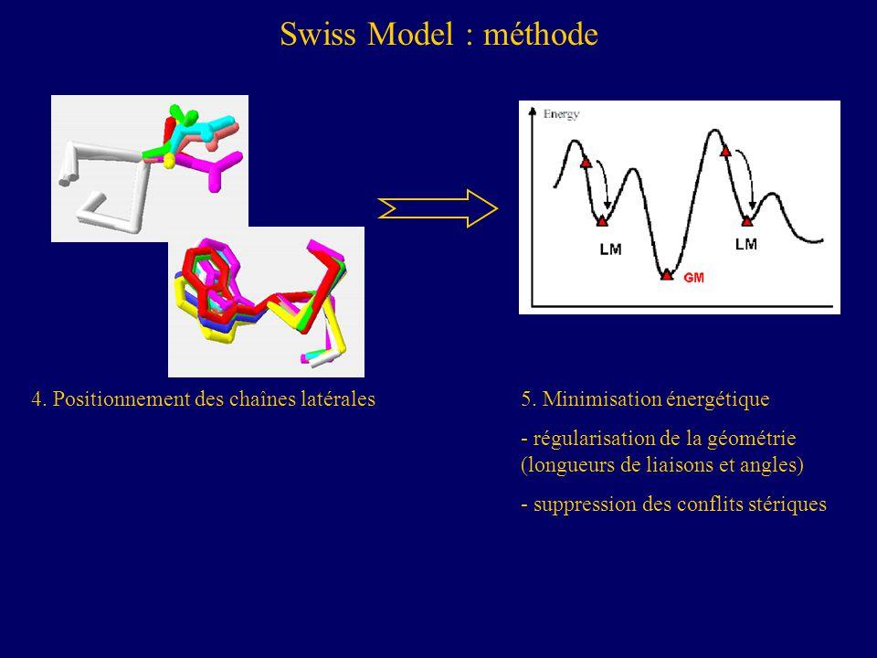 Swiss Model : méthode 4.Positionnement des chaînes latérales5.