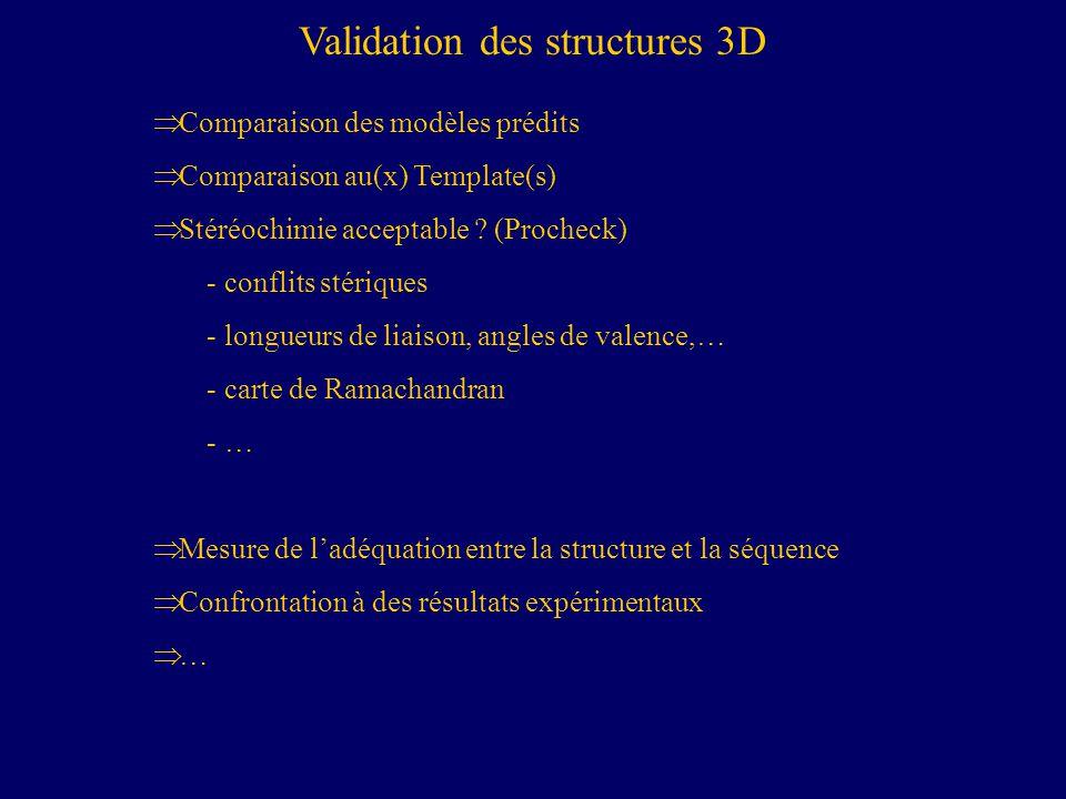 Validation des structures 3D Comparaison des modèles prédits Comparaison au(x) Template(s) Stéréochimie acceptable .