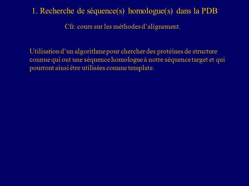 1.Recherche de séquence(s) homologue(s) dans la PDB Cfr.