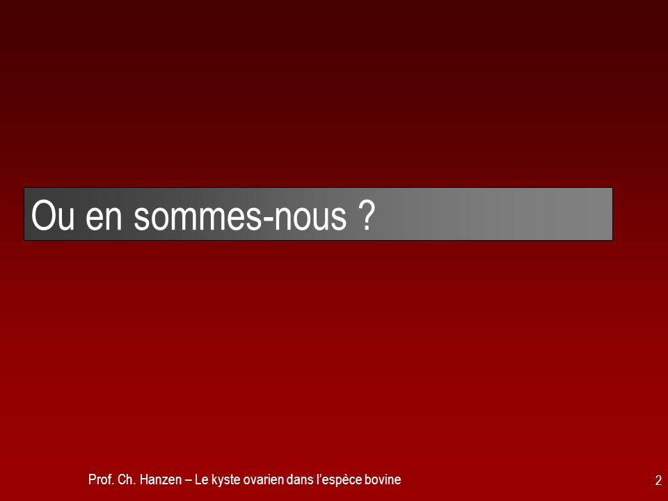 Prof. Ch. Hanzen – Le kyste ovarien dans lespèce bovine 2 Ou en sommes-nous ?