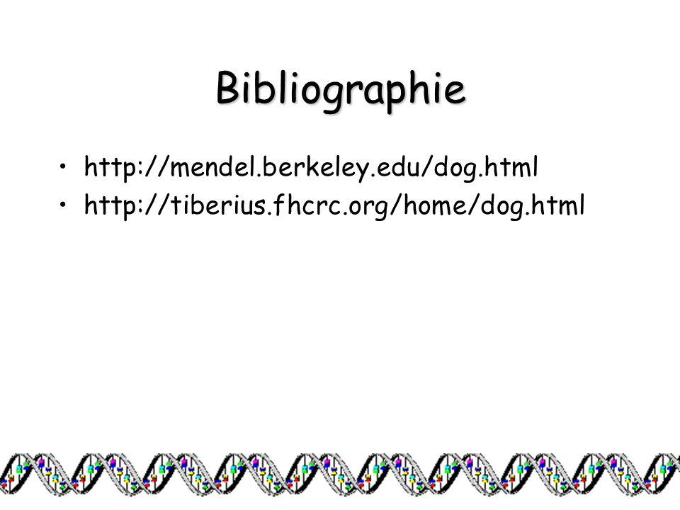 Bibliographie http://mendel.berkeley.edu/dog.html http://tiberius.fhcrc.org/home/dog.html