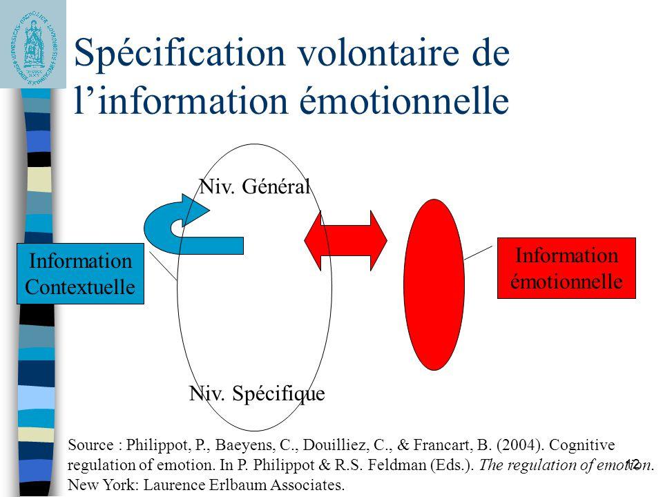 12 Spécification volontaire de linformation émotionnelle Niv. Général Niv. Spécifique Information Contextuelle Information émotionnelle Source : Phili