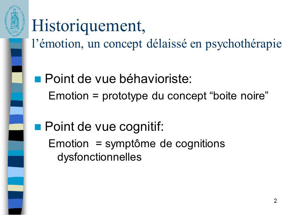 2 Historiquement, lémotion, un concept délaissé en psychothérapie Point de vue béhavioriste: Emotion = prototype du concept boite noire Point de vue c