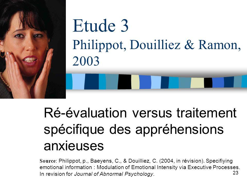 23 Etude 3 Philippot, Douilliez & Ramon, 2003 Ré-évaluation versus traitement spécifique des appréhensions anxieuses Source: Philippot, p., Baeyens, C