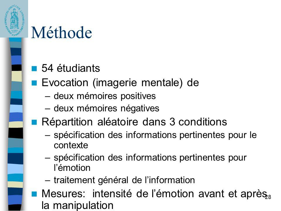 28 Méthode 54 étudiants Evocation (imagerie mentale) de –deux mémoires positives –deux mémoires négatives Répartition aléatoire dans 3 conditions –spé