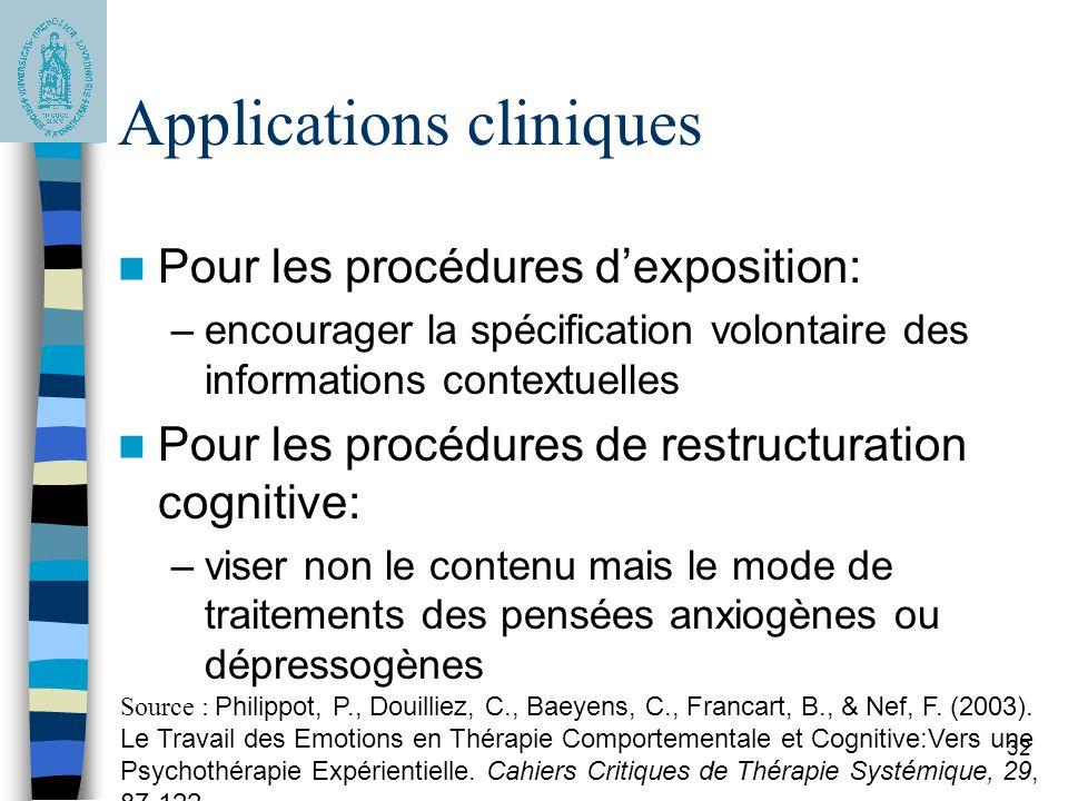 32 Applications cliniques Pour les procédures dexposition: –encourager la spécification volontaire des informations contextuelles Pour les procédures