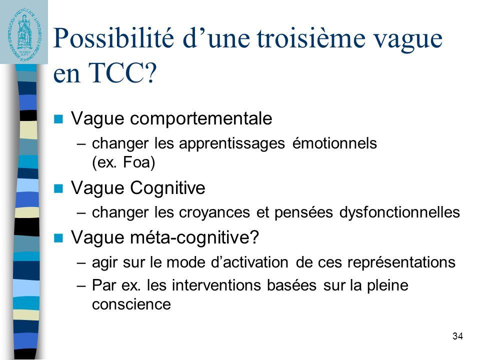 34 Possibilité dune troisième vague en TCC? Vague comportementale –changer les apprentissages émotionnels (ex. Foa) Vague Cognitive –changer les croya