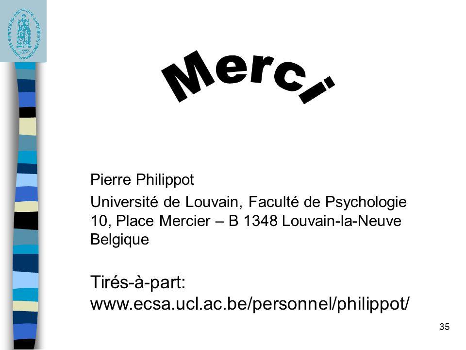 35 Pierre Philippot Université de Louvain, Faculté de Psychologie 10, Place Mercier – B 1348 Louvain-la-Neuve Belgique Tirés-à-part: www.ecsa.ucl.ac.b