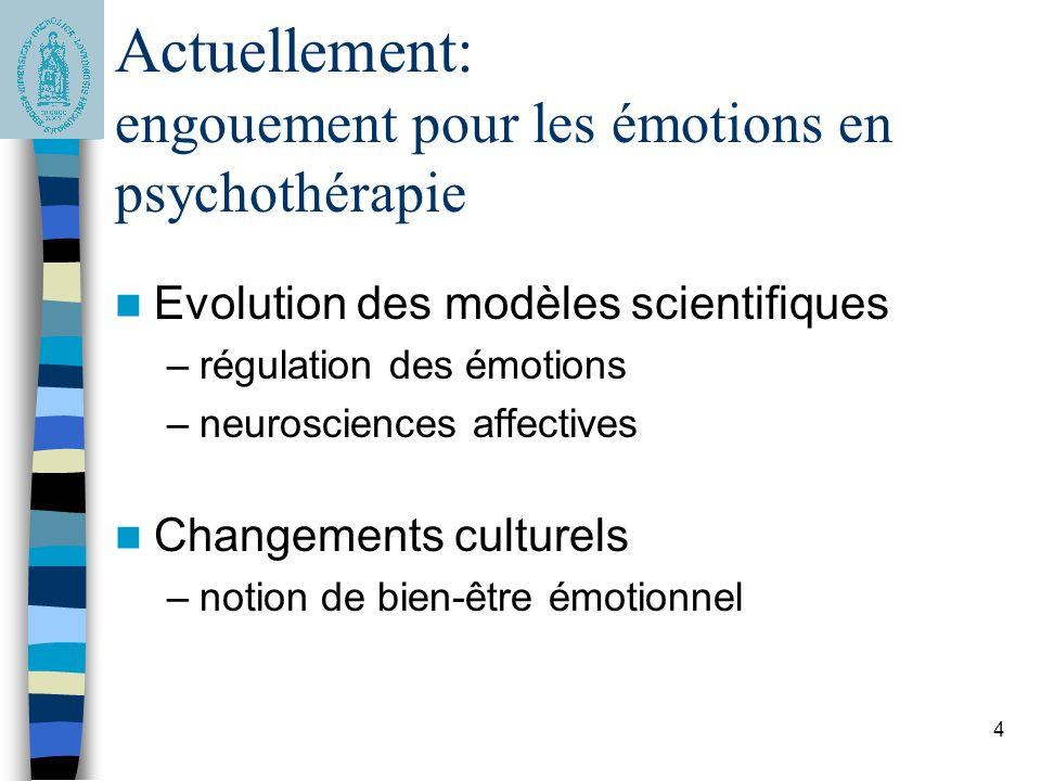4 Actuellement: engouement pour les émotions en psychothérapie Evolution des modèles scientifiques –régulation des émotions –neurosciences affectives