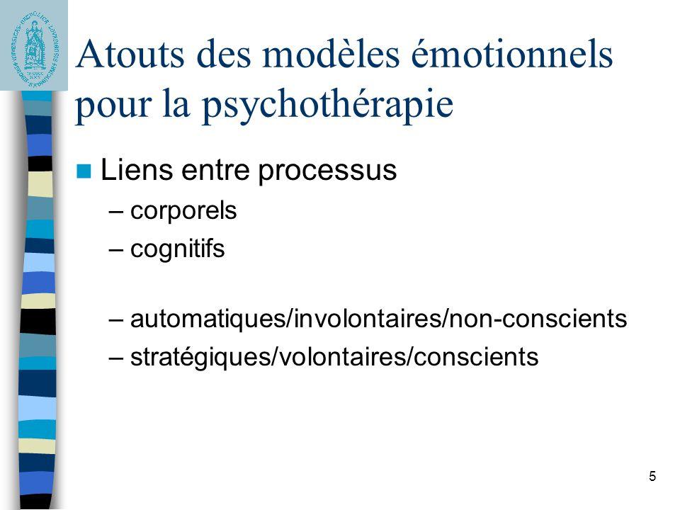 5 Atouts des modèles émotionnels pour la psychothérapie Liens entre processus –corporels –cognitifs –automatiques/involontaires/non-conscients –straté