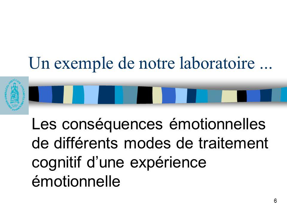 6 Un exemple de notre laboratoire... Les conséquences émotionnelles de différents modes de traitement cognitif dune expérience émotionnelle