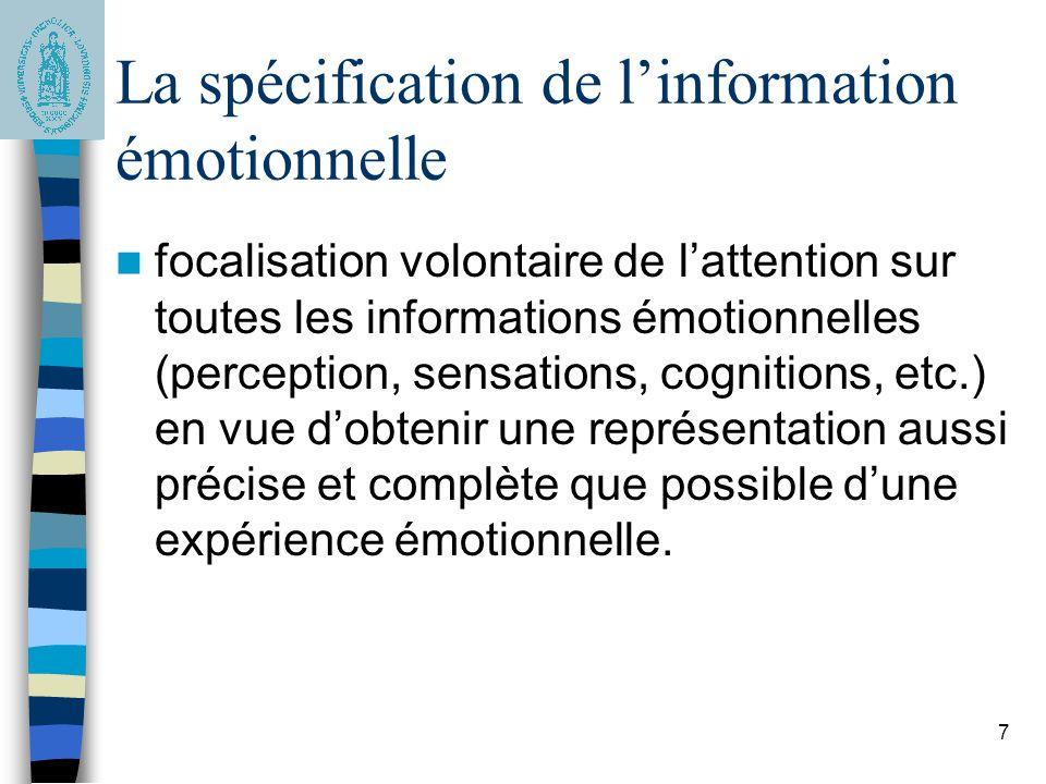 7 La spécification de linformation émotionnelle focalisation volontaire de lattention sur toutes les informations émotionnelles (perception, sensation