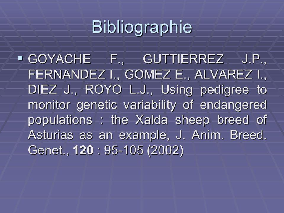 Bibliographie GOYACHE F., GUTTIERREZ J.P., FERNANDEZ I., GOMEZ E., ALVAREZ I., DIEZ J., ROYO L.J., Using pedigree to monitor genetic variability of endangered populations : the Xalda sheep breed of Asturias as an example, J.