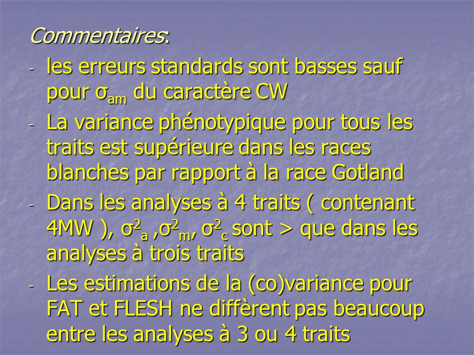 Commentaires: - les erreurs standards sont basses sauf pour σ am du caractère CW - La variance phénotypique pour tous les traits est supérieure dans l