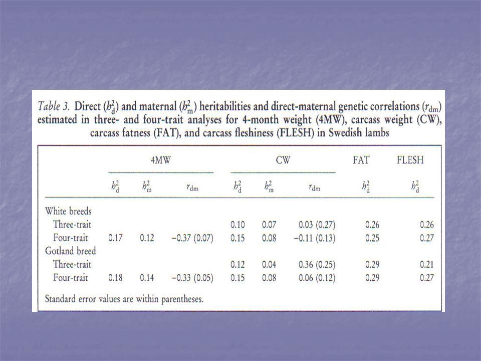 Lhéritabilité et leffet maternel sont bas pour 4MW et CMW et modérément élevés pour FAT et FLESH Lhéritabilité et leffet maternel sont bas pour 4MW et CMW et modérément élevés pour FAT et FLESH Lhéritabilité de CW dans lanalyse à 3 caractères est < à 4 caractères.