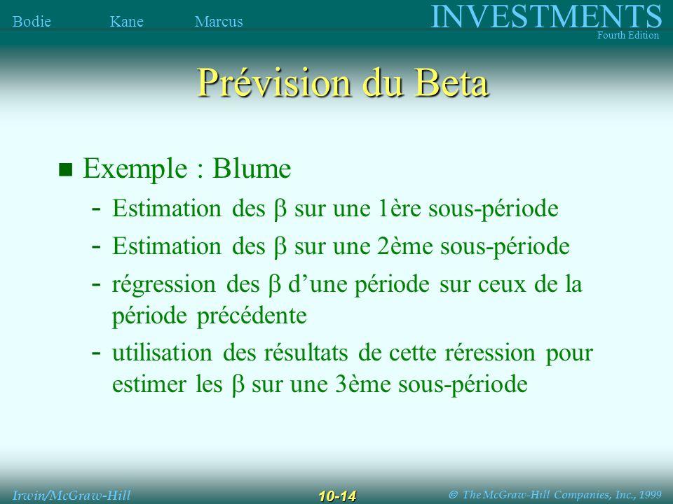 The McGraw-Hill Companies, Inc., 1999 INVESTMENTS Fourth Edition Bodie Kane Marcus Irwin/McGraw-Hill 10-14 Prévision du Beta Exemple : Blume - Estimation des sur une 1ère sous-période - Estimation des sur une 2ème sous-période - régression des dune période sur ceux de la période précédente - utilisation des résultats de cette réression pour estimer les sur une 3ème sous-période