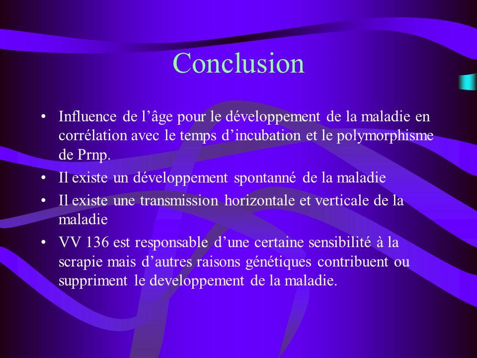 Conclusion Influence de lâge pour le développement de la maladie en corrélation avec le temps dincubation et le polymorphisme de Prnp. Il existe un dé