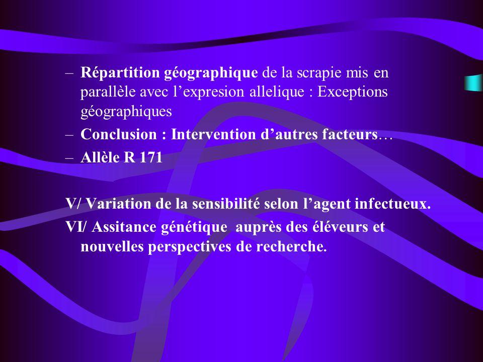 –Répartition géographique de la scrapie mis en parallèle avec lexpresion allelique : Exceptions géographiques –Conclusion : Intervention dautres facte