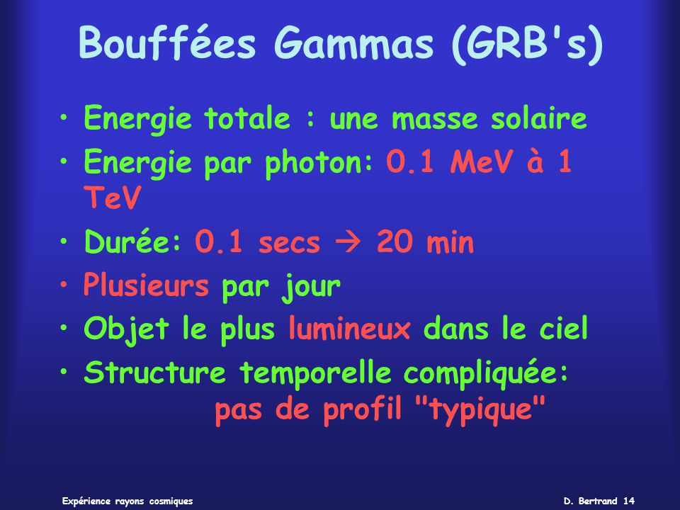 D. Bertrand 14Expérience rayons cosmiques Bouffées Gammas (GRB's) Energie totale : une masse solaire Energie par photon: 0.1 MeV à 1 TeV Durée: 0.1 se