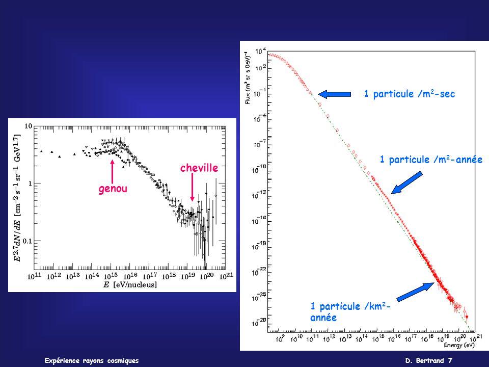 D. Bertrand 7Expérience rayons cosmiques 1 particule /km 2 - année 1 particule /m 2 -année 1 particule /m 2 -sec cheville genou