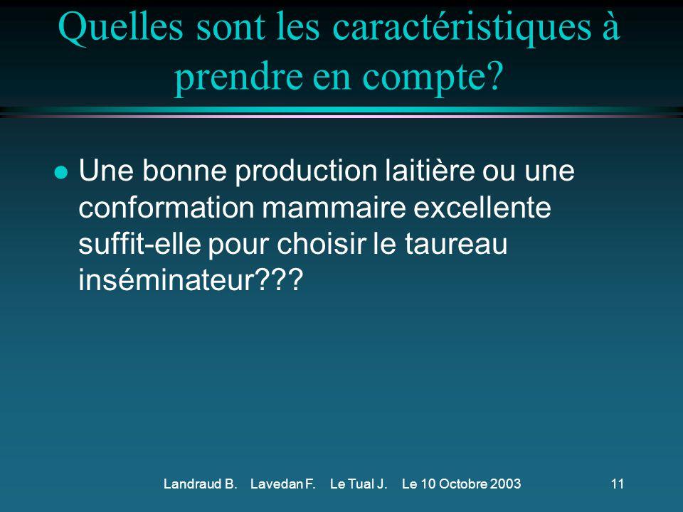 Landraud B.Lavedan F. Le Tual J. Le 10 Octobre 200310 Et concernant la vache?.