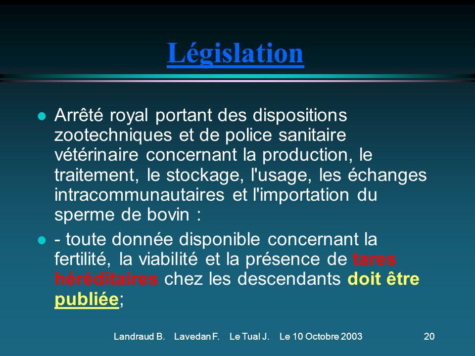 Existe-t-il une législation concernant les tares héréditaires .