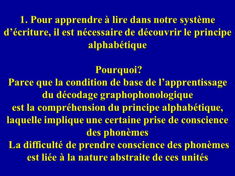 1. Pour apprendre à lire dans notre système décriture, il est nécessaire de découvrir le principe alphabétique Pourquoi? Parce que la condition de bas