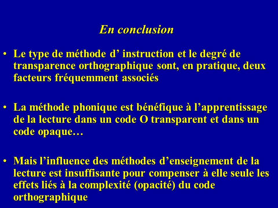 En conclusion Le type de méthode d instruction et le degré de transparence orthographique sont, en pratique, deux facteurs fréquemment associésLe type