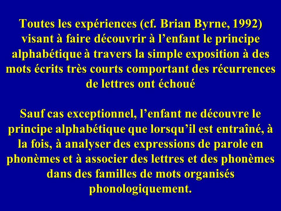 Toutes les expériences (cf. Brian Byrne, 1992) visant à faire découvrir à lenfant le principe alphabétique à travers la simple exposition à des mots é