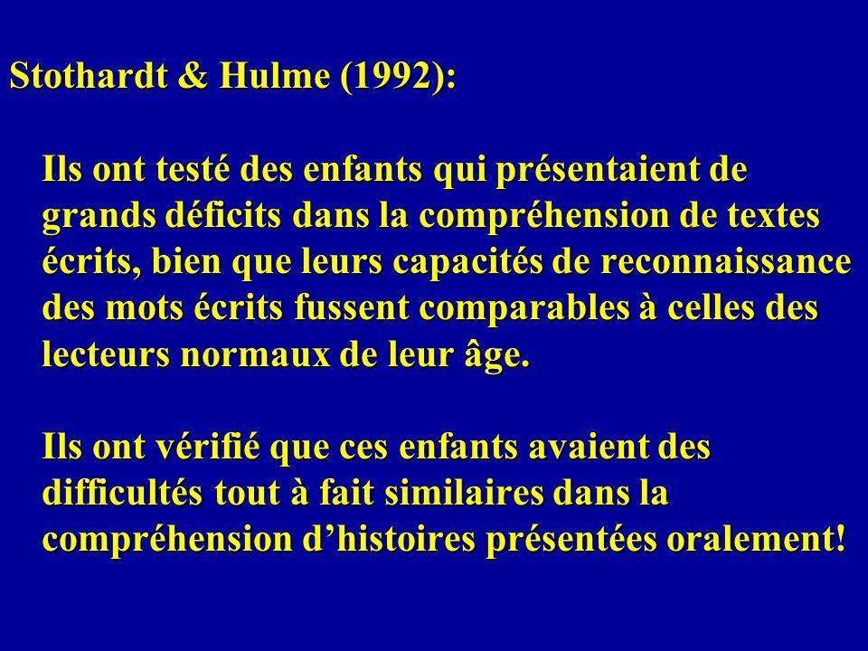 Stothardt & Hulme (1992): Ils ont testé des enfants qui présentaient de grands déficits dans la compréhension de textes écrits, bien que leurs capacit
