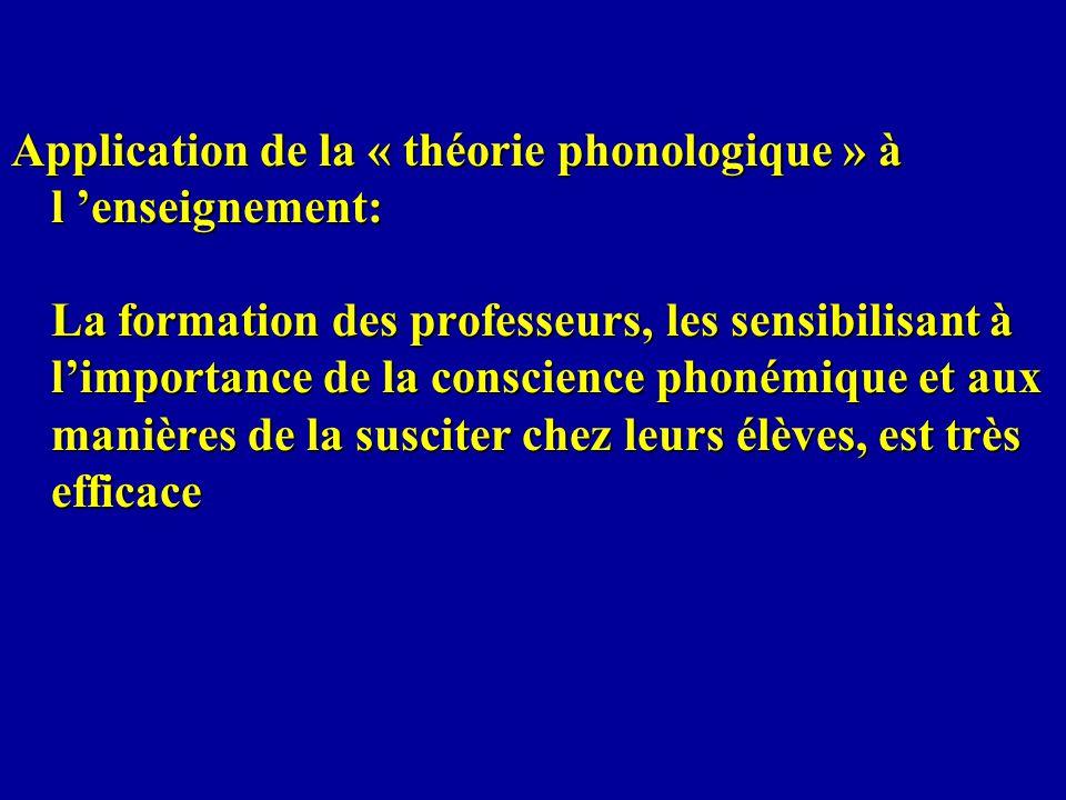 Application de la « théorie phonologique » à l enseignement: La formation des professeurs, les sensibilisant à limportance de la conscience phonémique