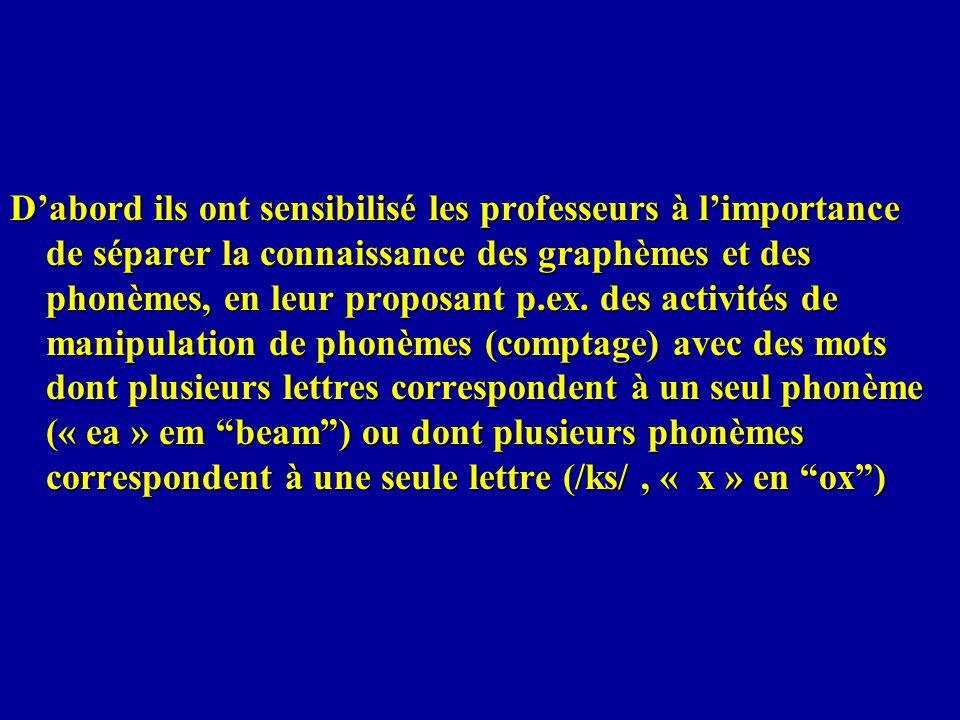Dabord ils ont sensibilisé les professeurs à limportance de séparer la connaissance des graphèmes et des phonèmes, en leur proposant p.ex. des activit