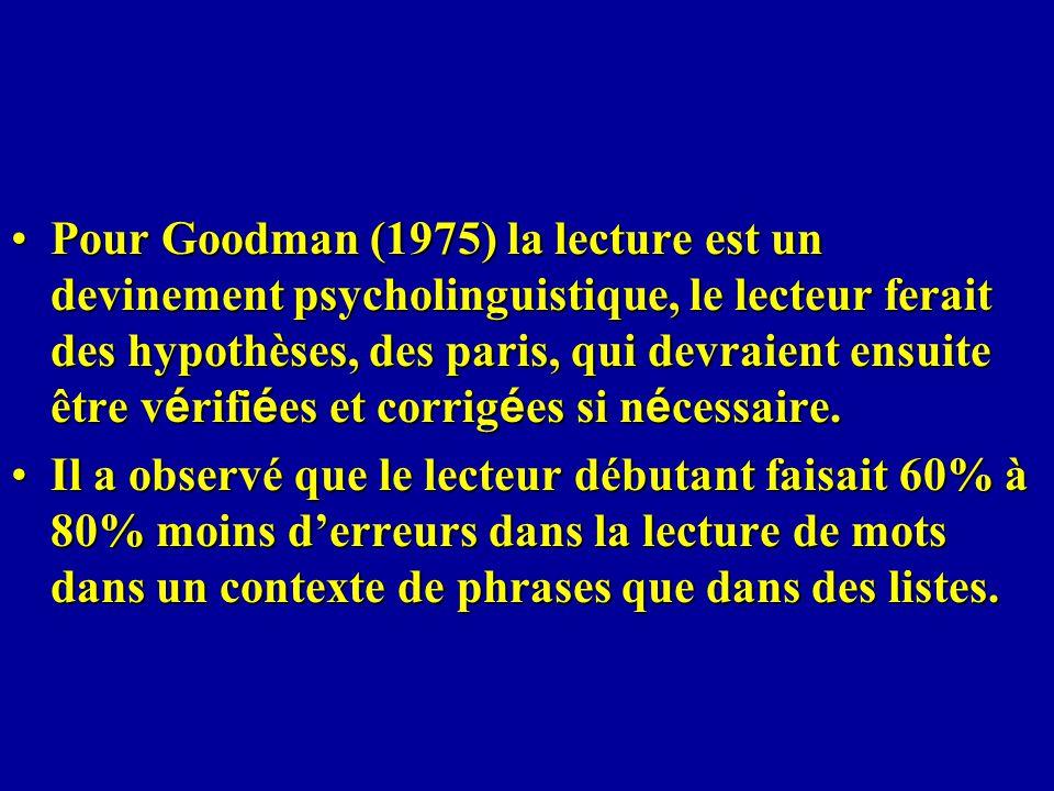 Pour Goodman (1975) la lecture est un devinement psycholinguistique, le lecteur ferait des hypothèses, des paris, qui devraient ensuite être v é rifi