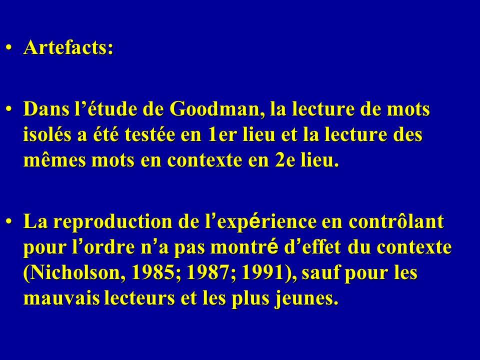 Artefacts:Artefacts: Dans létude de Goodman, la lecture de mots isolés a été testée en 1er lieu et la lecture des mêmes mots en contexte en 2e lieu.Da