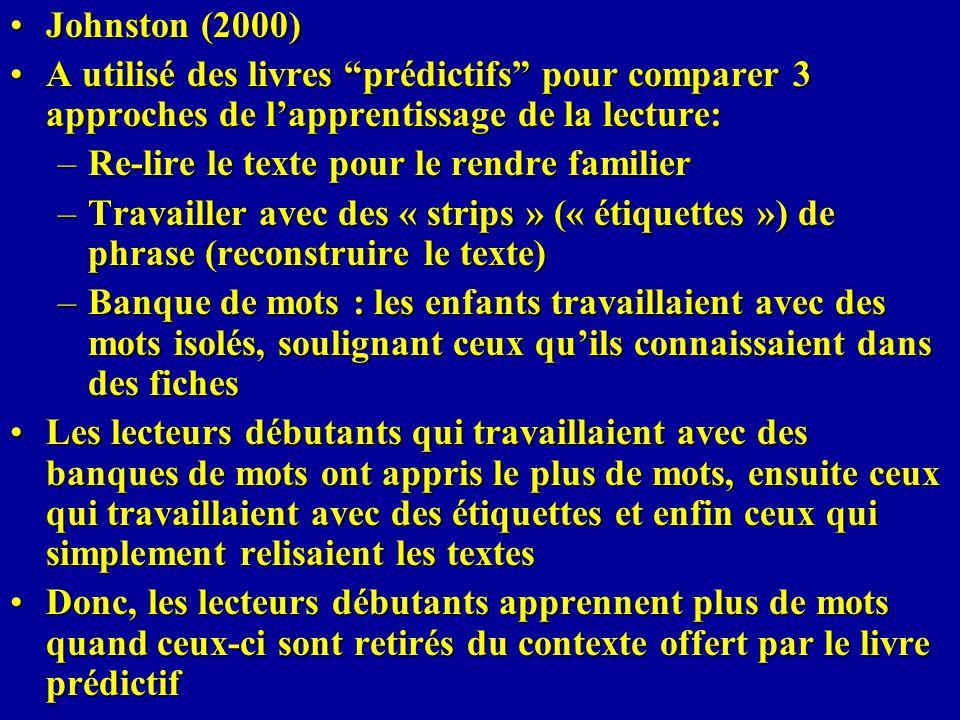 Johnston (2000)Johnston (2000) A utilisé des livres prédictifs pour comparer 3 approches de lapprentissage de la lecture:A utilisé des livres prédicti