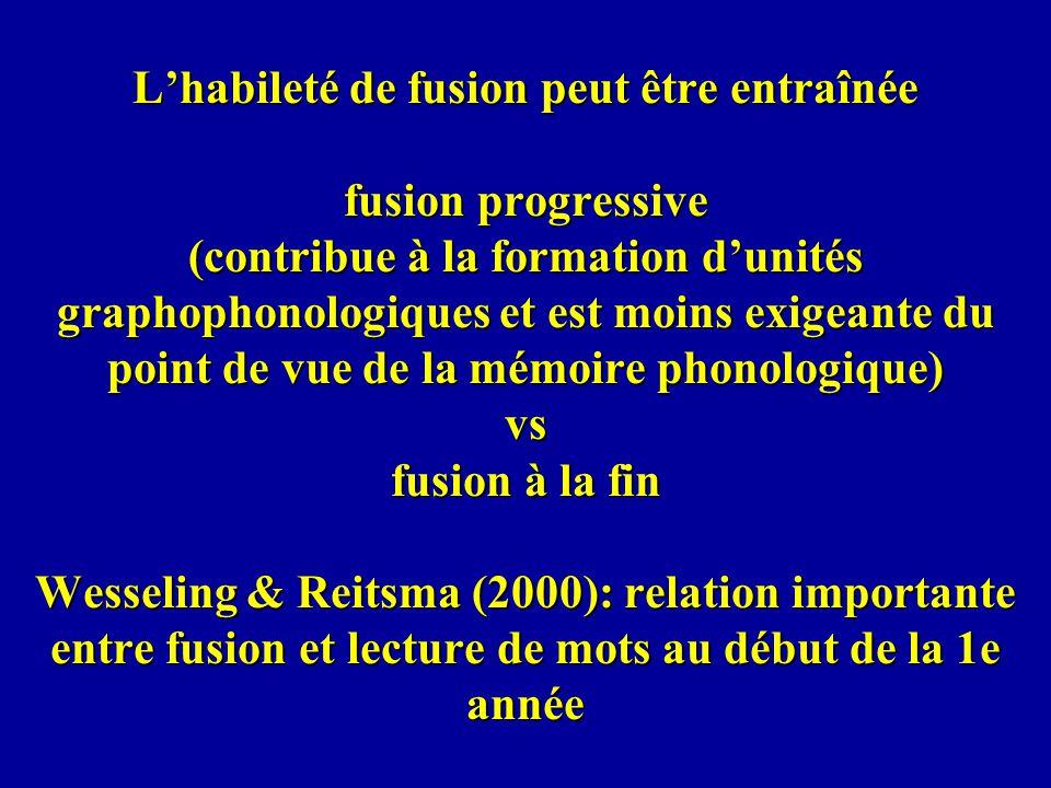 Lhabileté de fusion peut être entraînée fusion progressive (contribue à la formation dunités graphophonologiques et est moins exigeante du point de vu