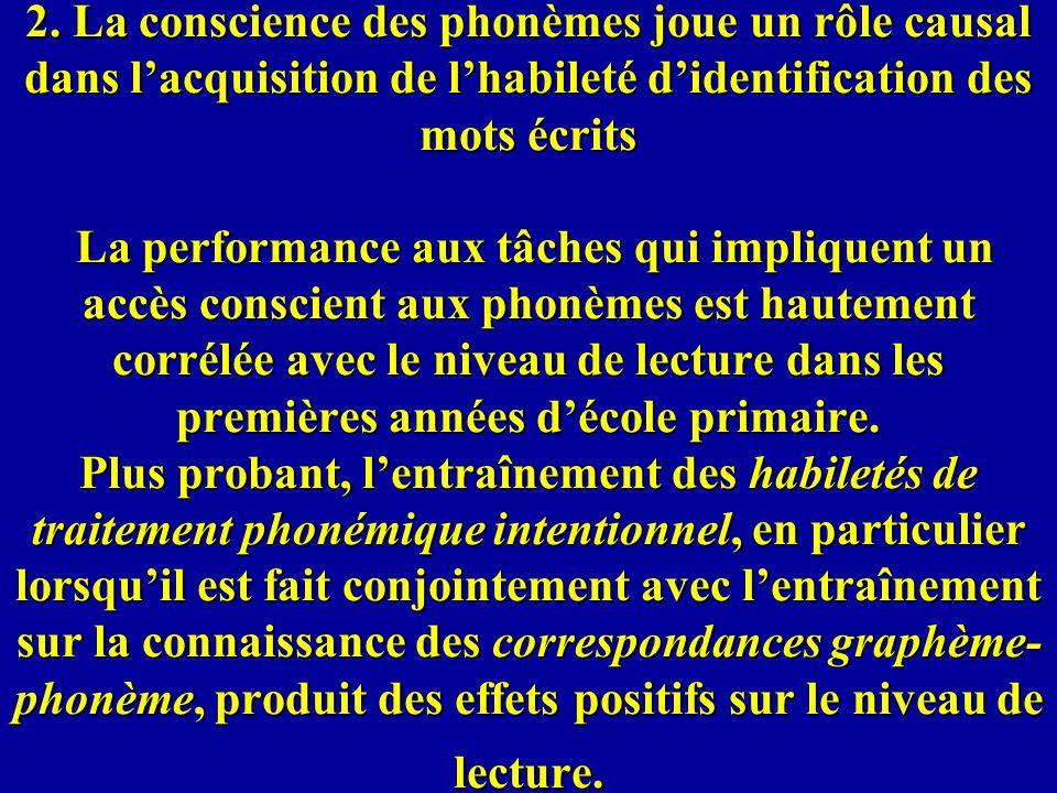 2. La conscience des phonèmes joue un rôle causal dans lacquisition de lhabileté didentification des mots écrits La performance aux tâches qui impliqu