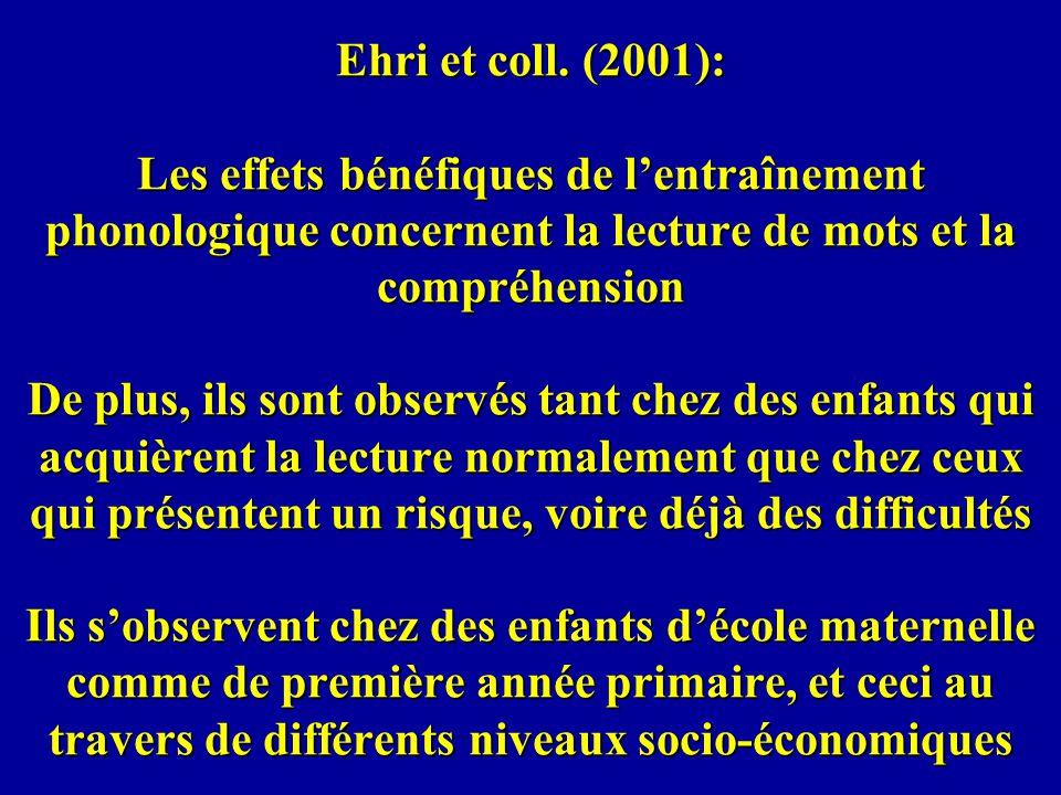 Ehri et coll. (2001): Les effets bénéfiques de lentraînement phonologique concernent la lecture de mots et la compréhension De plus, ils sont observés
