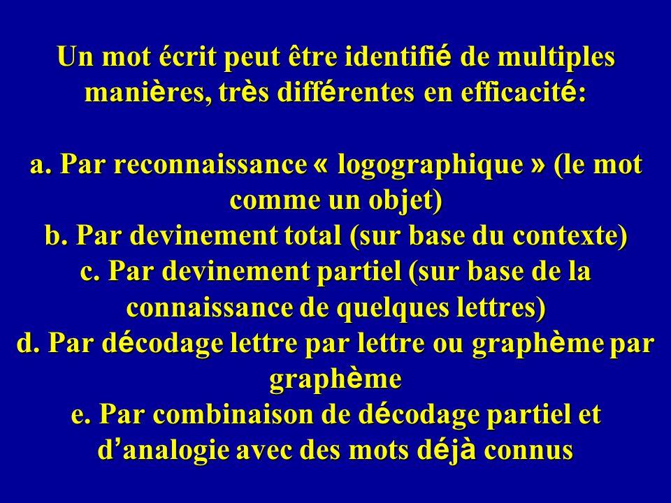 Un mot écrit peut être identifi é de multiples mani è res, tr è s diff é rentes en efficacit é : a. Par reconnaissance « logographique » (le mot comme