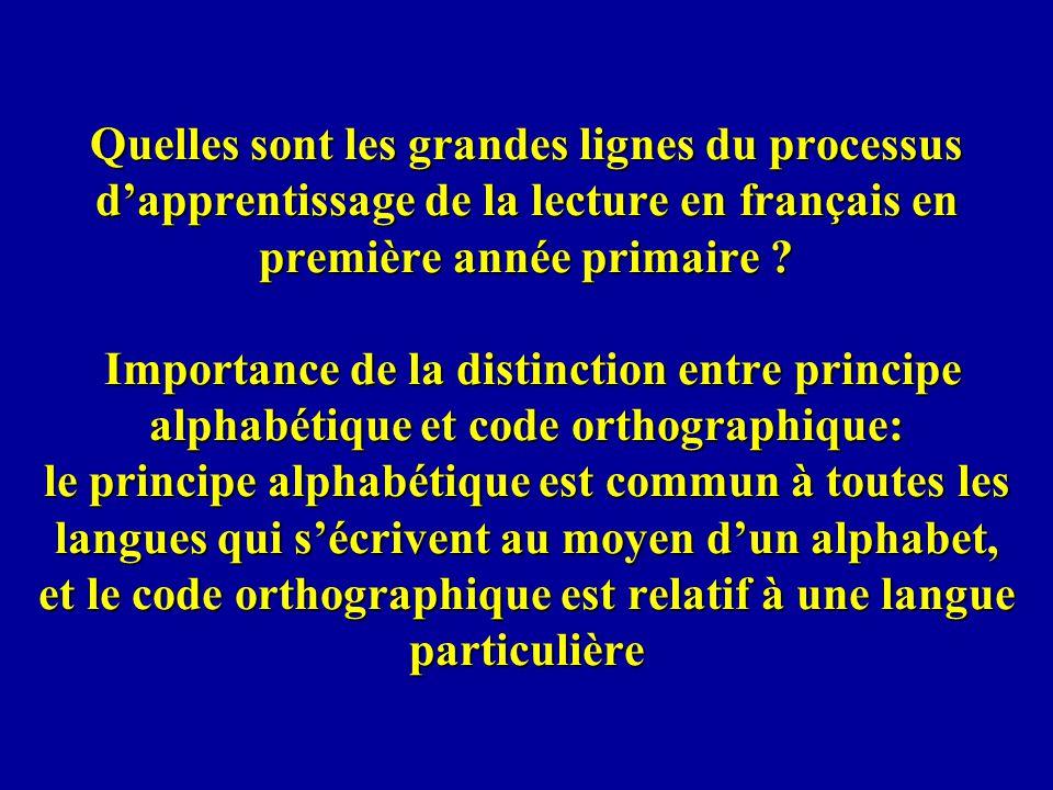 Quelles sont les grandes lignes du processus dapprentissage de la lecture en français en première année primaire ? Importance de la distinction entre