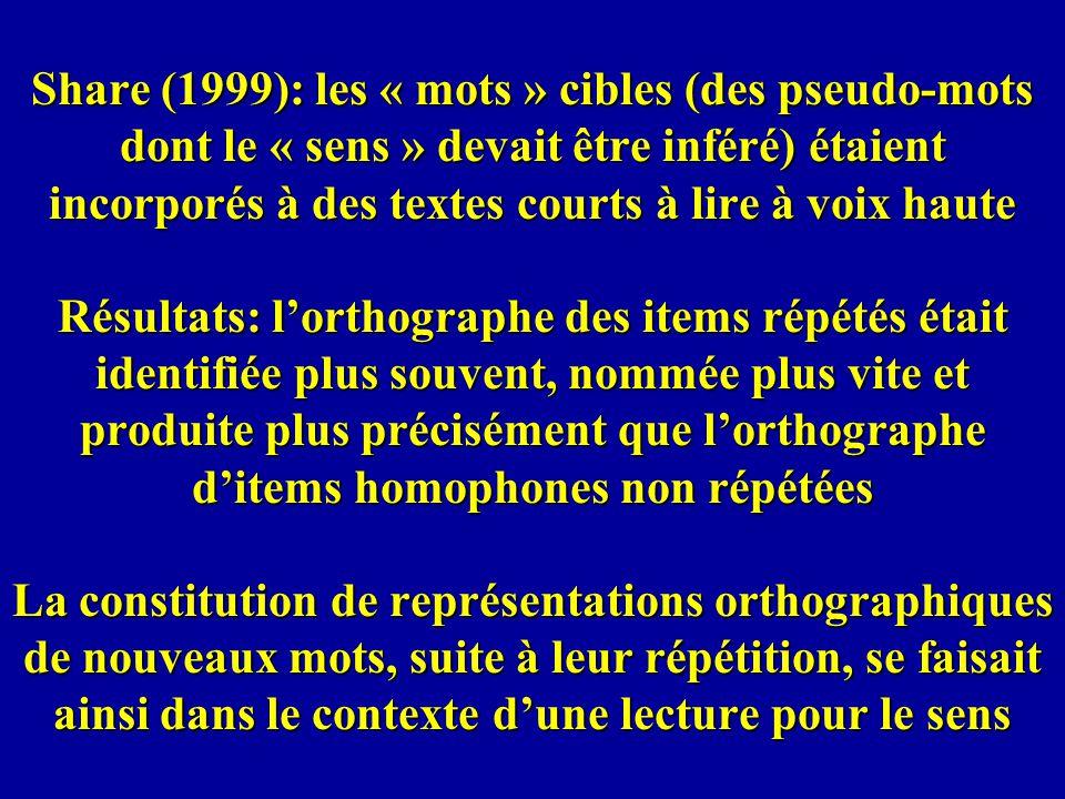 Share (1999): les « mots » cibles (des pseudo-mots dont le « sens » devait être inféré) étaient incorporés à des textes courts à lire à voix haute Rés