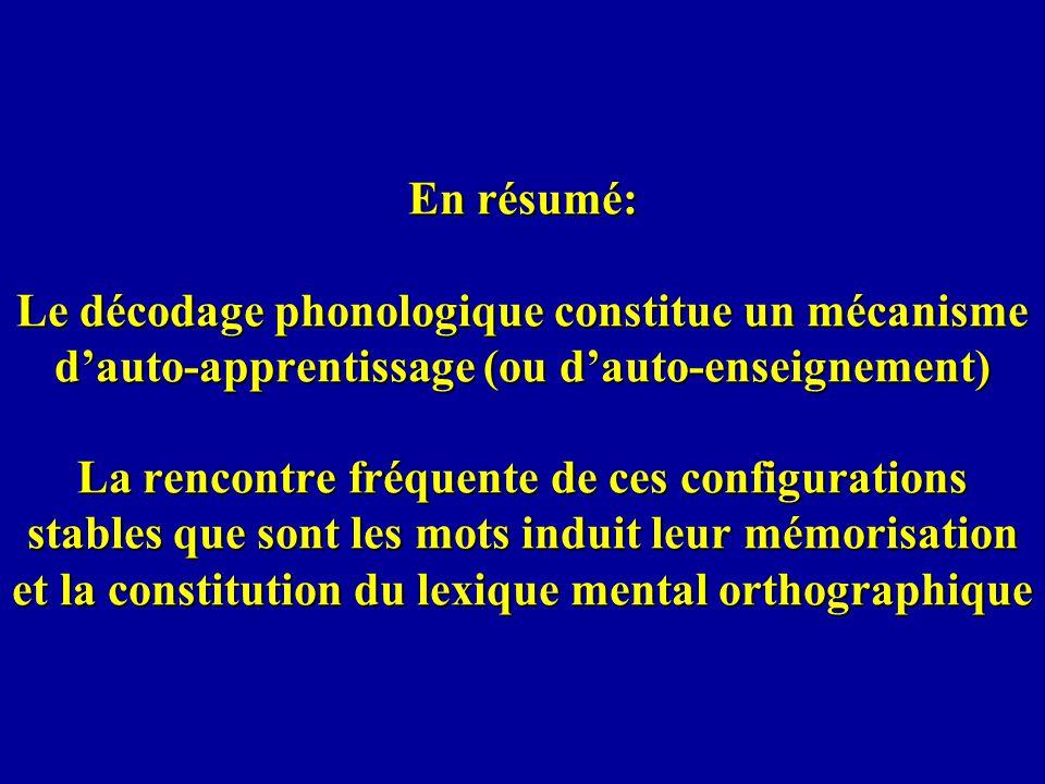 En résumé: Le décodage phonologique constitue un mécanisme dauto-apprentissage (ou dauto-enseignement) La rencontre fréquente de ces configurations st