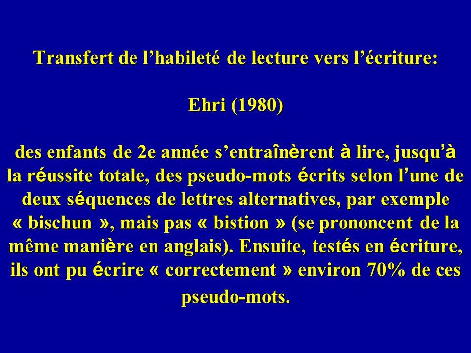 Transfert de lhabileté de lecture vers lécriture: Ehri (1980) des enfants de 2e année sentra î n è rent à lire, jusqu à la r é ussite totale, des pseu