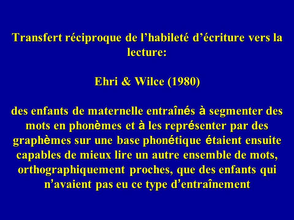 Transfert réciproque de lhabileté décriture vers la lecture: Ehri & Wilce (1980) des enfants de maternelle entra î n é s à segmenter des mots en phon