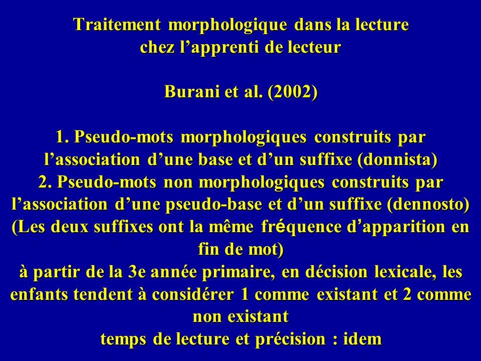Traitement morphologique dans la lecture chez lapprenti de lecteur Burani et al. (2002) 1. Pseudo-mots morphologiques construits par lassociation dune