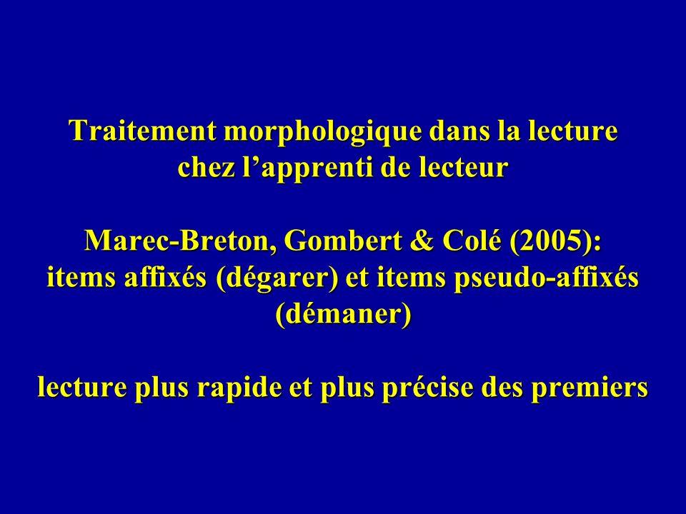 Traitement morphologique dans la lecture chez lapprenti de lecteur Marec-Breton, Gombert & Colé (2005): items affixés (dégarer) et items pseudo-affixé