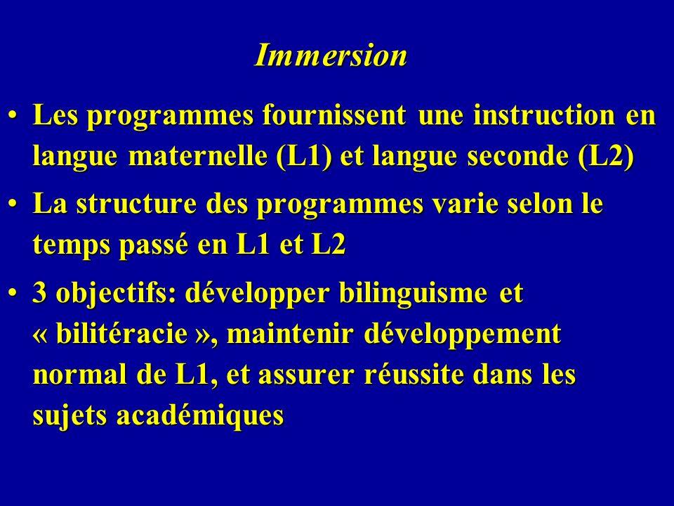 Immersion Les programmes fournissent une instruction en langue maternelle (L1) et langue seconde (L2)Les programmes fournissent une instruction en lan